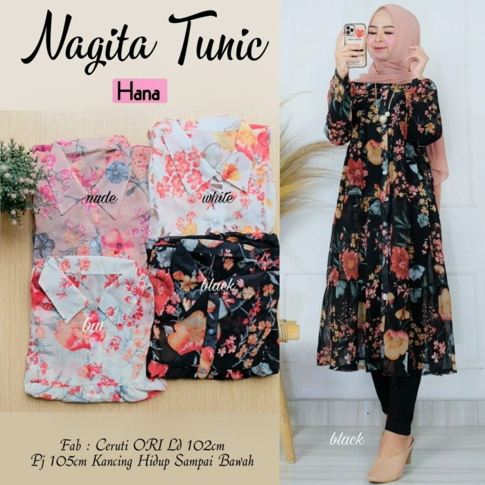 Foto Produk Baju Atasan Wanita Blouse Muslim Nagita Tunik Hn1 dari myfashion