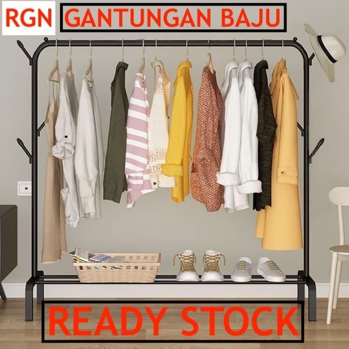 Foto Produk Gantungan Baju WINDPROOF JUMBO stand hanger lemari baju rak baju - Hitam dari Raja Grosir Nusantara