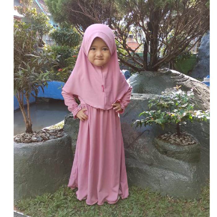 Foto Produk HAURA BUSANA Baju Gamis Anak Perempuan Syari PINK - XS dari HAURA BUSANA