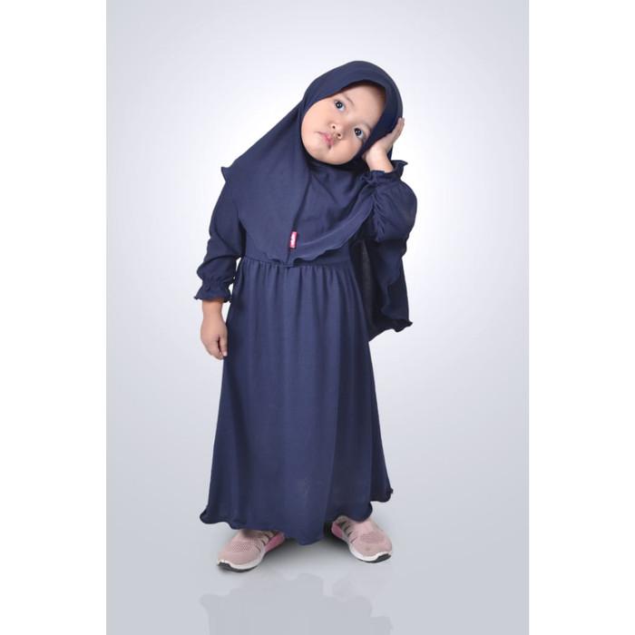 Foto Produk HAURA BUSANA Baju Gamis Anak Perempuan Syari Navy - XS, Navy dari HAURA BUSANA