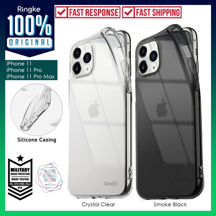 Foto Produk Case iPhone 11 Pro Max / 11 Pro / 11 Ringke AIR Softcase Clear Casing - Crystal Clear, iPhone 11 dari Unicase Store