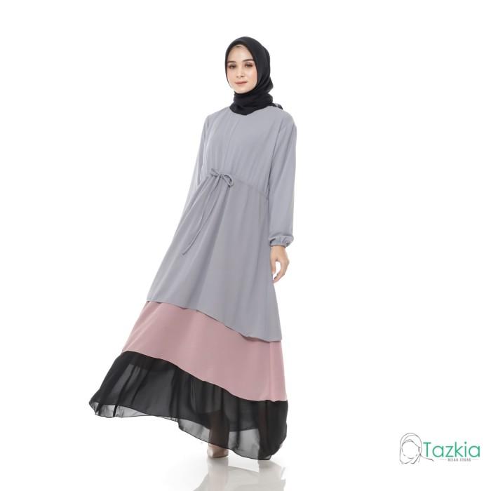 Foto Produk Gamis Wanita Original | Jenia Layer Abu | Dress Muslim Tazkia Hijab dari Tazkia Hijab Store