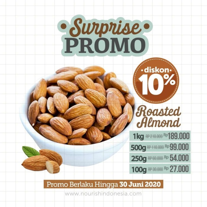 Foto Produk Almond Panggang Original (Roasted Almond Plain) 250 gr dari Nourish Indonesia