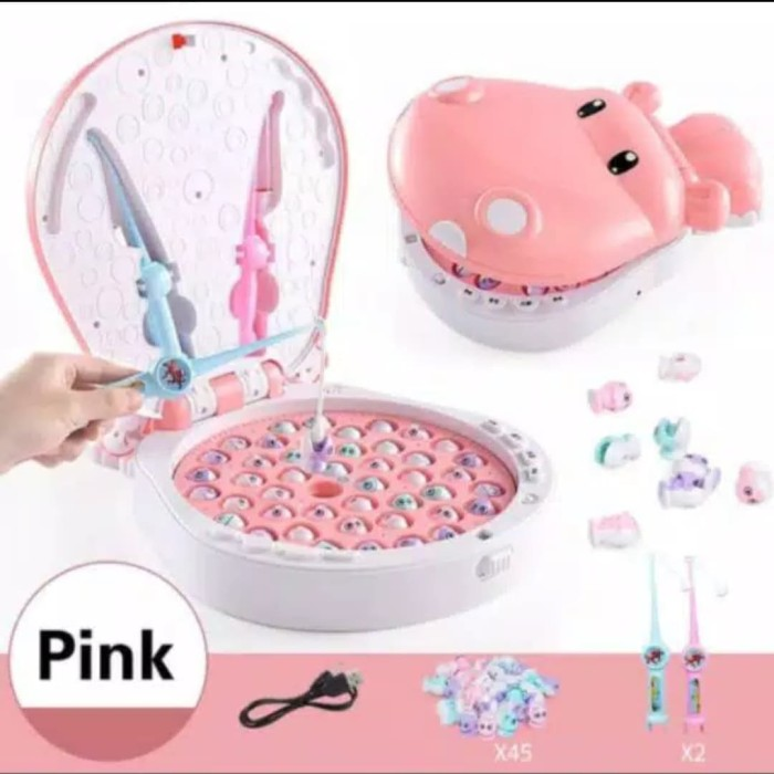 Foto Produk Mainan Edukasi Anak Hippo Pancingan ikan 45pcs Big size - Merah Muda dari AUTO KID II