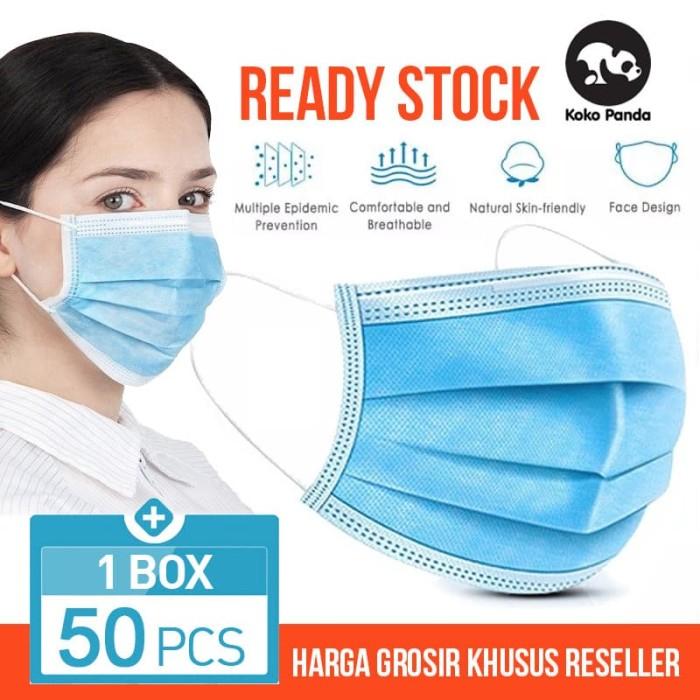 Foto Produk Masker 3 Ply isi 50 disposable Surgical mask Masker Bedah Earloop dari Toko Koko Panda