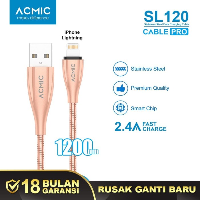 Foto Produk ACMIC SL120 Kabel Data Charger iPhone Lightning Fast Charging Cable - Space Grey dari ACMIC Official Store