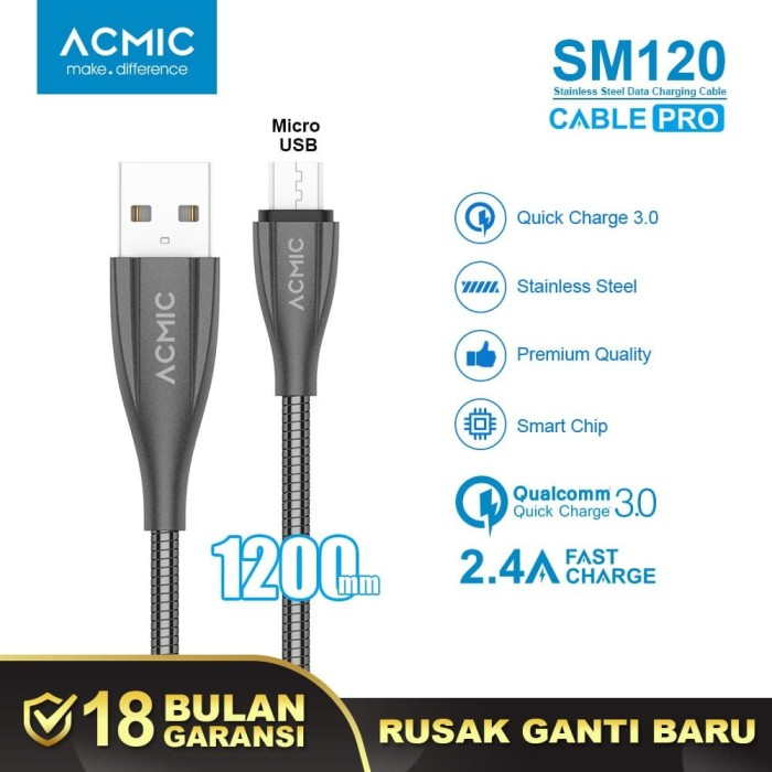 Foto Produk ACMIC SM120 Kabel Data Charger Micro USB 100cm Fast Charging Cable - Space Grey dari ACMIC Official Store