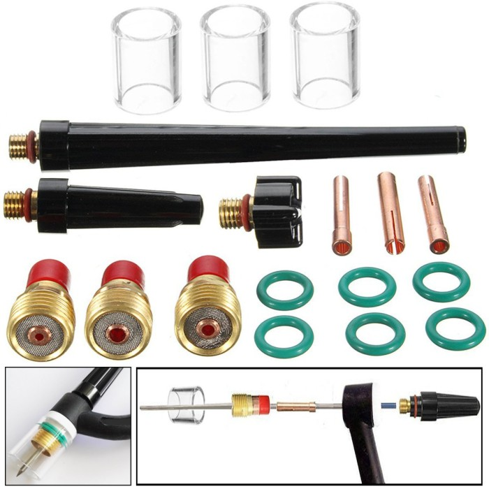 Jual Terbaru 18pcs Tig Welding Torch Gas Lens 10 Pyrex Glass Cup Kit Jakarta Barat Nano Mark Tokopedia