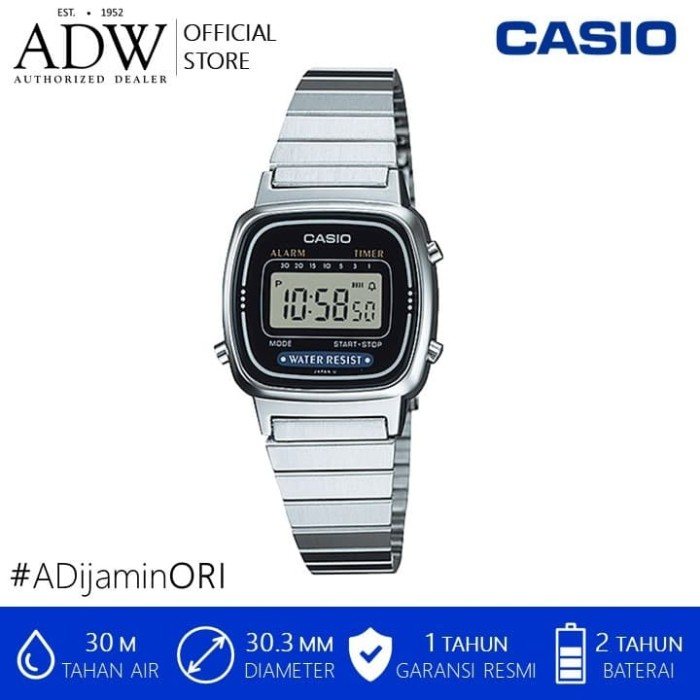 Foto Produk Jam Tangan Wanita / Casio Digital Stainless Steel Watch LA670WA-1DF dari AD Watches