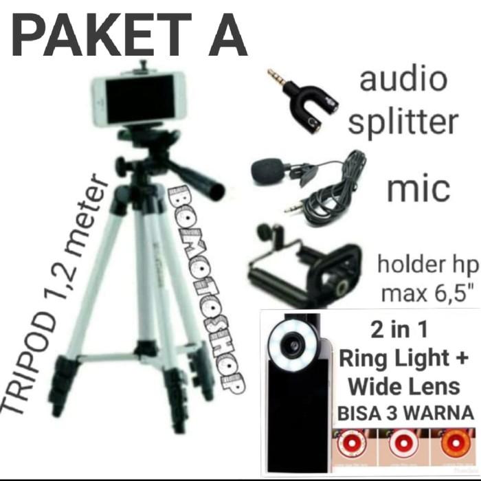 Foto Produk PAKET PRO VLOGGER 4in1 Tripod 1Meter + Ring Light+Mic Clip On+Spliter dari bomotoshop
