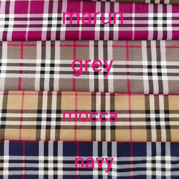 Foto Produk kain katun meteran katun jepang import ori motif burberry dari afia kain katun
