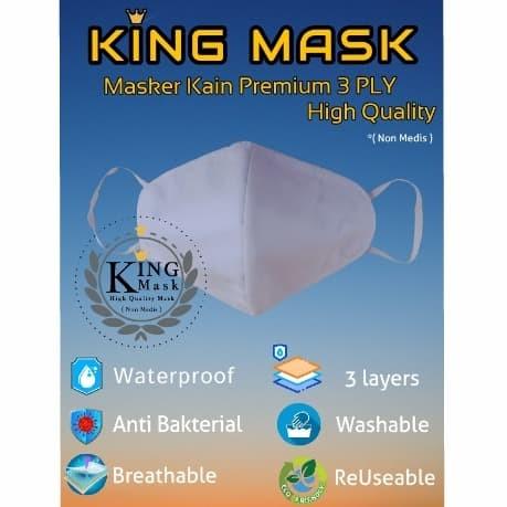 Foto Produk Masker Kain 3 Lapis Premium, High Quality.. KING MASK - Putih dari BTL MART