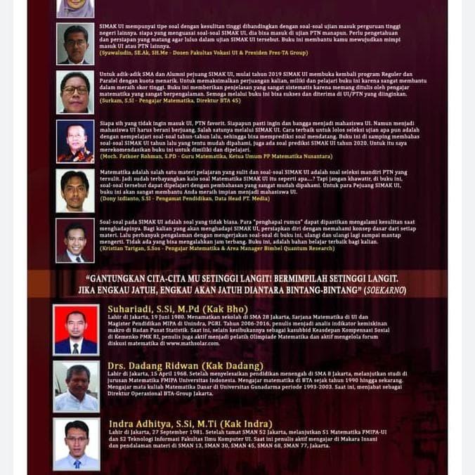 Jual Promo Buku Soal Dan Pembahasan Simak Ui Matematika Ipa 2009 2019 2020 Jakarta Barat Paul Store2 Tokopedia