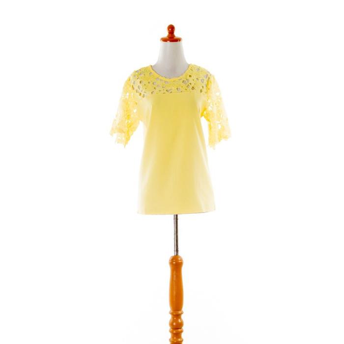 Foto Produk 32922 - Lace Calm (S,M,L,XL) Top Baju Brokat Hitam Kuning Putih Import - YELLOW, S dari Shopflorence