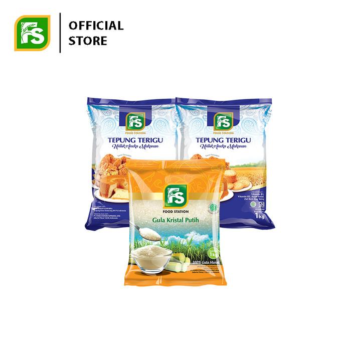 Foto Produk Bundling FS tepung Terigu 1 kg (2 pcs) plus FS Gula Pasir 1 kg (1 pcs) dari Food Station