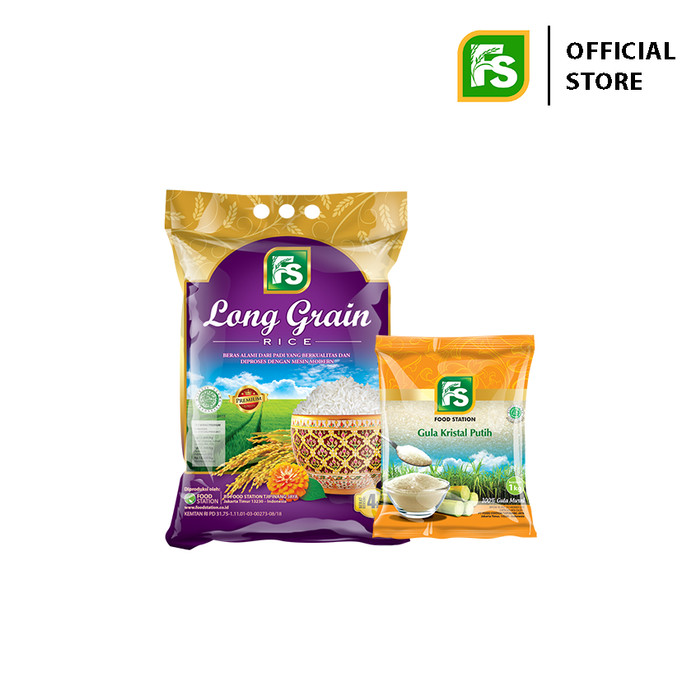 Foto Produk Bundling FS Long Grain Purple 4 Kg Plus FS Gula Pasir 1 Kg dari Food Station