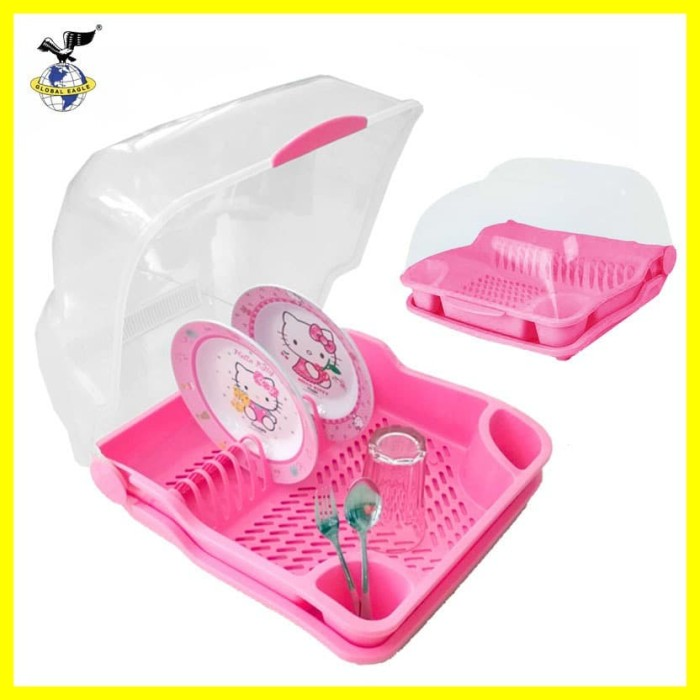 Foto Produk Gojek / Grab Only Rak Piring Dish Dryer Dapur Plastik Tutup Inova Pink dari Iyesh Online Store