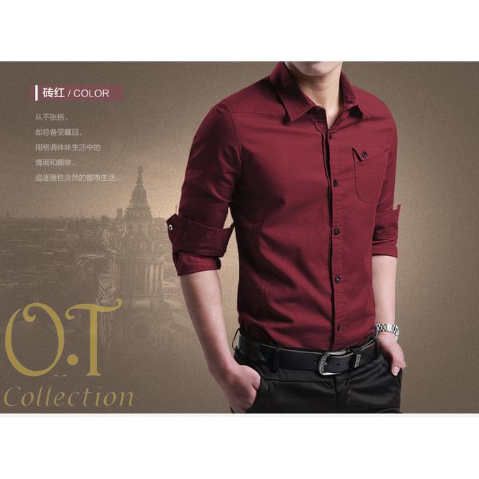 Foto Produk [miller maroon OT] pakaian pria kemeja slim fit warna maroon - Maroon, XS dari FASHIONISTA's GROSIR