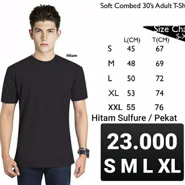 Foto Produk Kaos Polos Lengan Pendek HITAM Soft Combed 30s - S dari Supplier Kaos ID