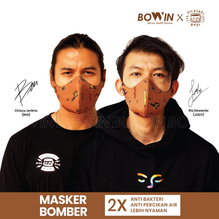 Foto Produk [Bowin X Rio Dewanto] Masker Bomber (Masker Kain 4ply / Masker Motor) - BOWIN X FILKOP dari Bowin Indonesia
