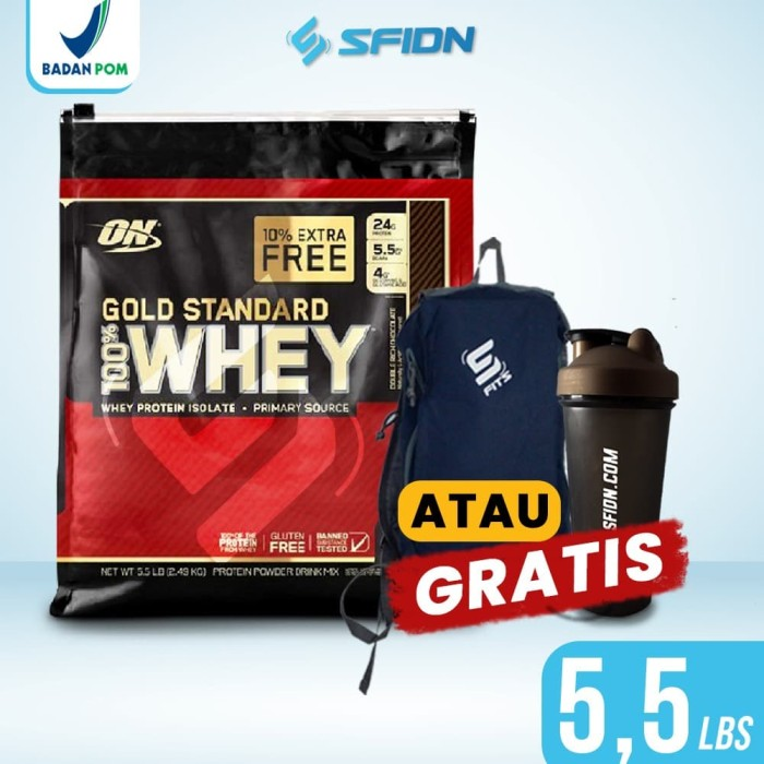 Foto Produk Optimum Nutrition On whey gold standard 5.5lbs10% Extra free - Coklat dari SuplemenfitnessID