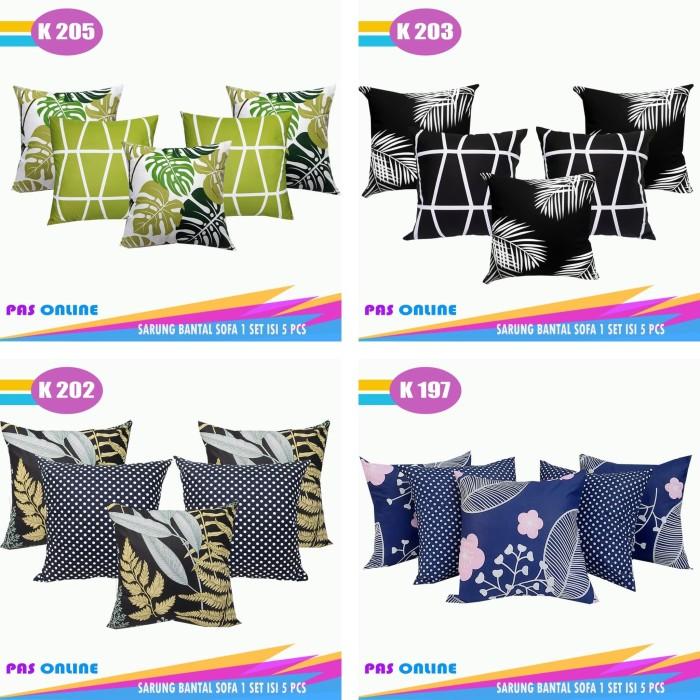 Foto Produk Sarung Bantal Sofa Set Kombinasi (1 Set Isi 5 Pcs ) dari pondok aren shop