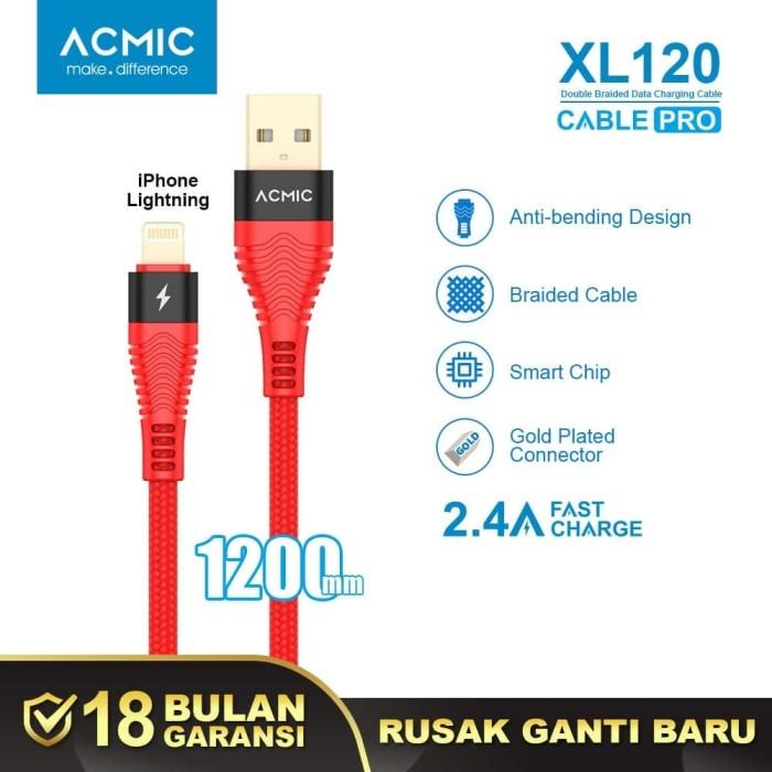 Foto Produk ACMIC XL120 Kabel Data Charger iPhone Lightning Fast Charging Cable - Merah dari ACMIC Official Store