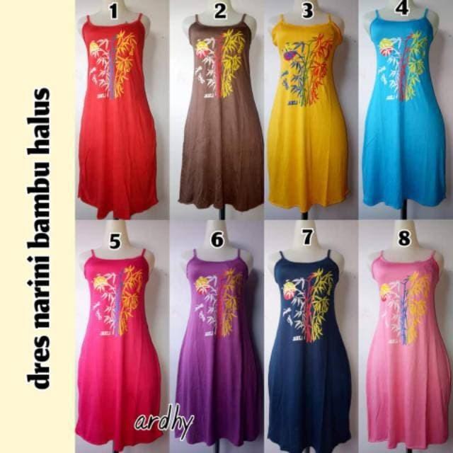 Foto Produk Dress Tali Bali Pinggang Karet Motif Daun dari MS Glow Bali Original