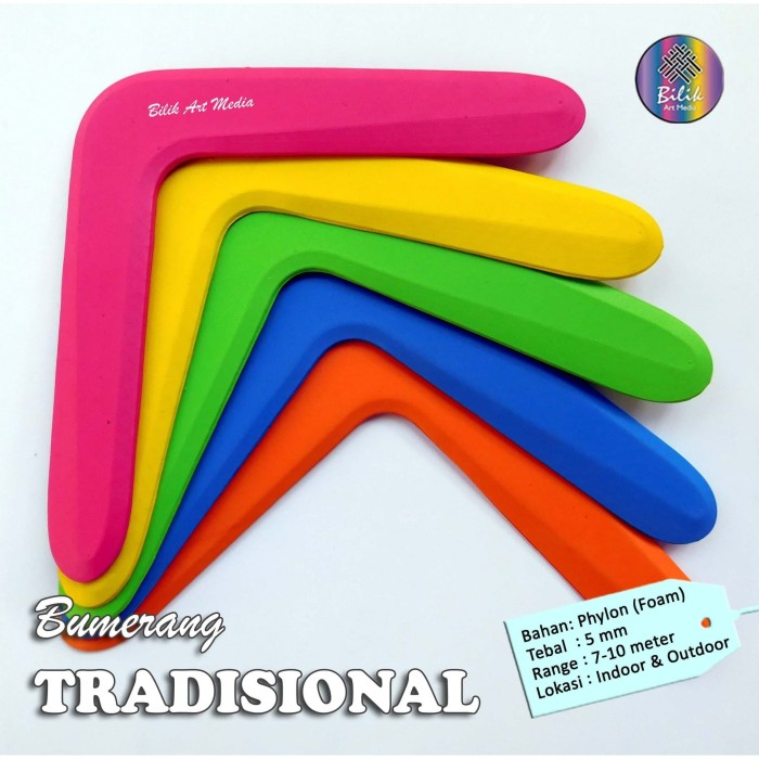 Foto Produk Mainan Anak Edukatif Sport Bumerang Boomerang Tradisional dari Bilik Art Media