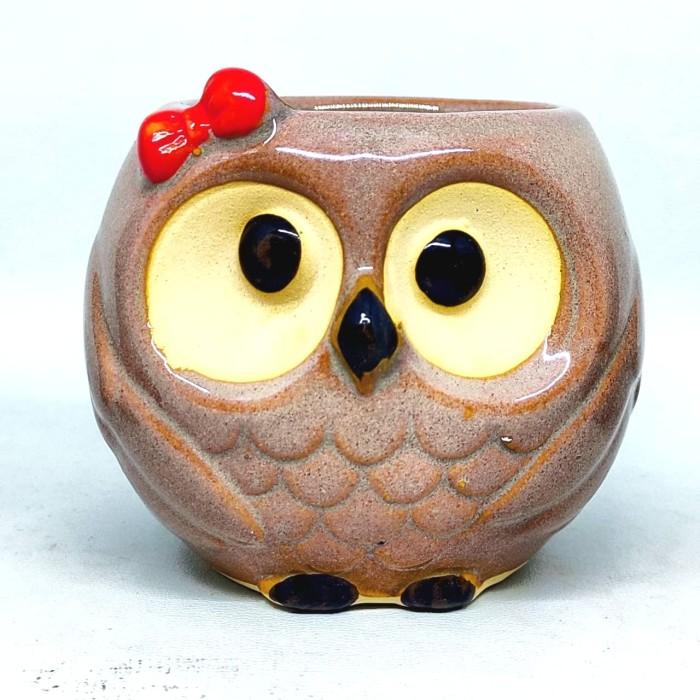 Foto Produk Pot bunga keramik kaktus sukulen burung hantu owl tipe A dari Biji Benih