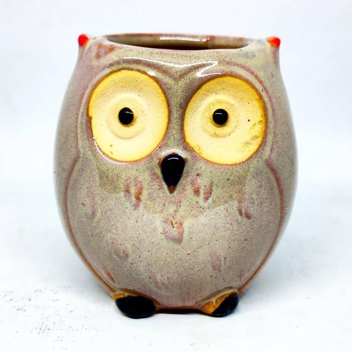 Foto Produk Pot bunga keramik kaktus sukulen burung hantu owl tipe D dari Biji Benih