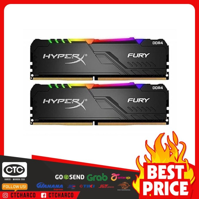 Foto Produk Ram DDR4 Kingston Hyper X Fury RGB 16GB - 2x 8 GB Memory Longdimm dari central technology compu