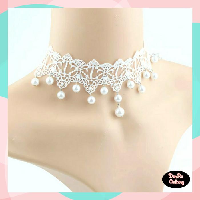 Foto Produk Kalung Choker Renda Putih / Kalung Coker Renda Putih / Kalung Korea dari Danira Clothing