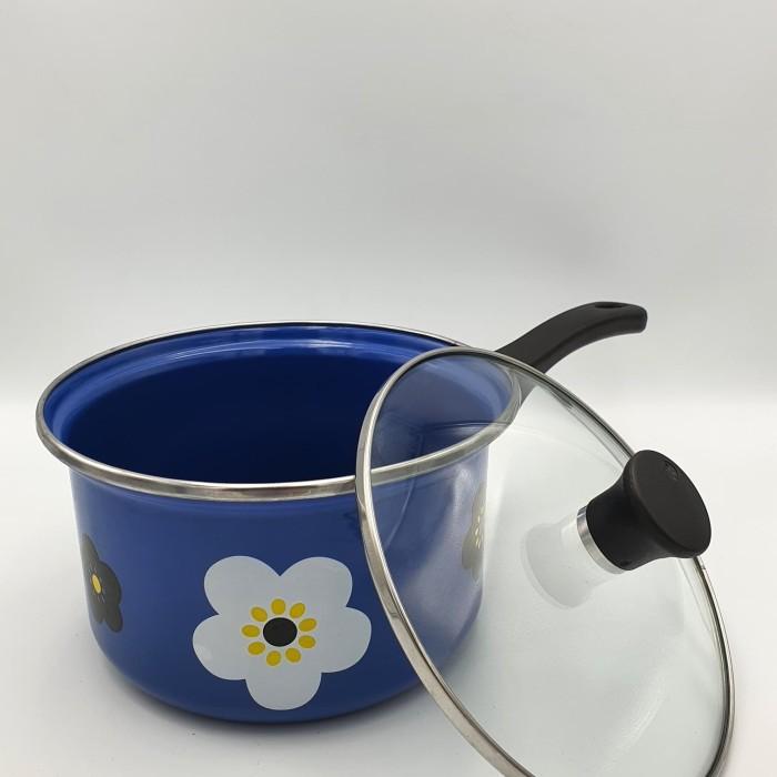 Foto Produk Panci susu enamel 18 cm bunga sakura / Sauce pan enamel warna hijau - Biru dari deeBlues