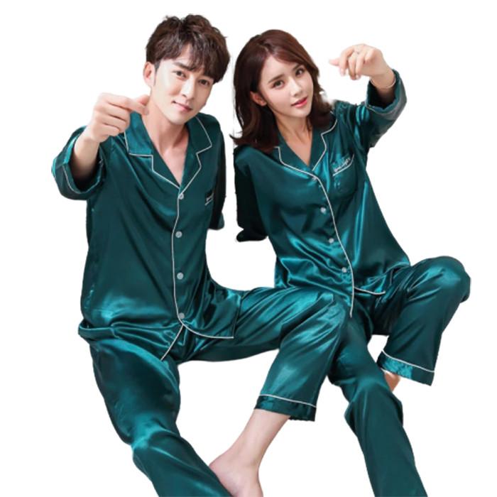 Foto Produk NOSH PP Couple Piyama Satin Lengan Panjang - Hijau dari NOSH