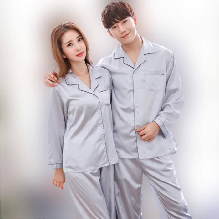 Foto Produk NOSH PP Couple Piyama Satin Lengan Panjang - Silver dari NOSH