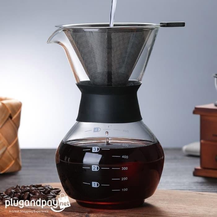 Foto Produk Coffee Maker Pot V60 Drip Kettle Teko Kopi Ketel Barista 400ml dari plugandpay
