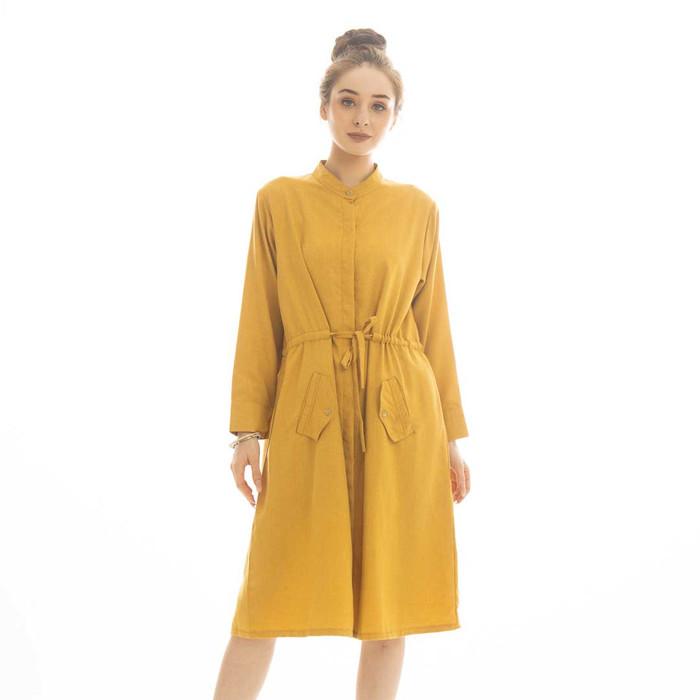 Foto Produk Maliska Knot Dress Beatrice Clothing - Dress Wanita - Mustard dari Beatrice Clothing