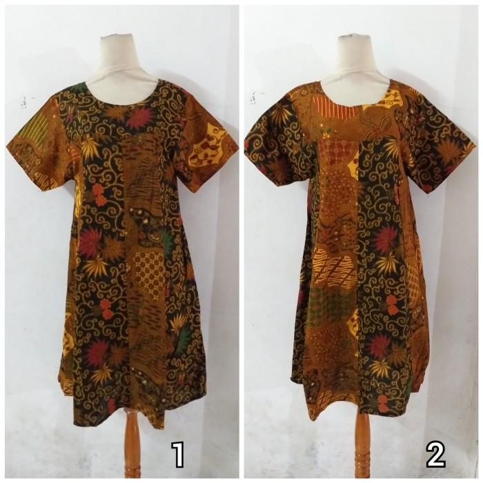 Foto Produk Daster/Longdress Batik Klok Lengan Pendek Motif Colet Kombinasi dari Batik mbak siti