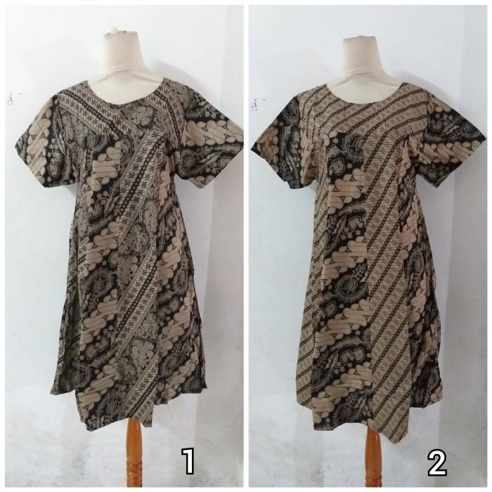 Foto Produk Daster/Longdress Batik Klok Lengan Pendek Warna Hitam Abu dari Batik mbak siti