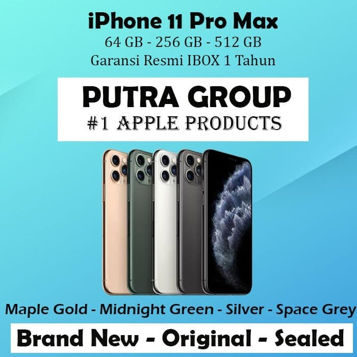 Foto Produk (IBOX) iPhone 11 PRO MAX 64GB 256GB 512GB Garansi Resmi TAM 64 256 512 - 64GB, Space Grey dari Putra Group