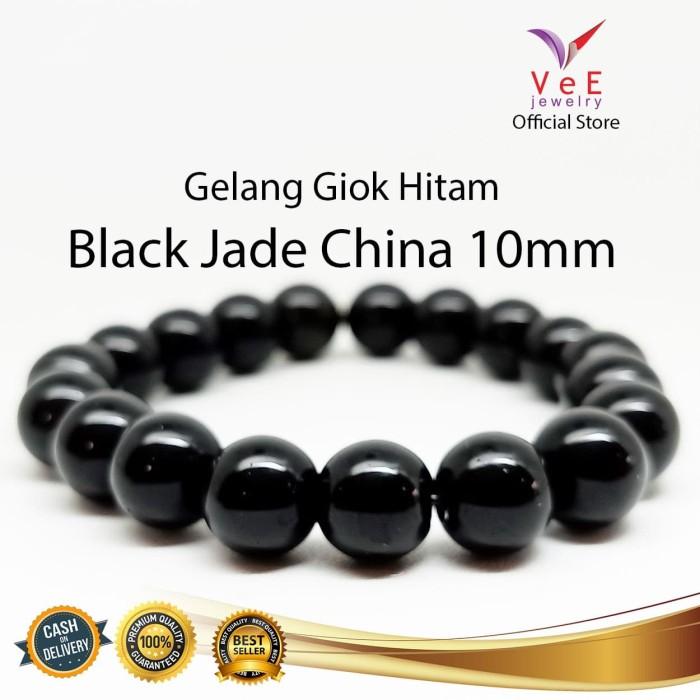 Foto Produk Gelang Batu Giok China Asli Hitam 10mm - VeE Gelang Pria Wanita dari Vee Jewelry