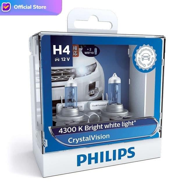 Foto Produk Philips Crystal Vision 4.300K H4 Bohlam Lampu Mobil Putih dari Depo Oto