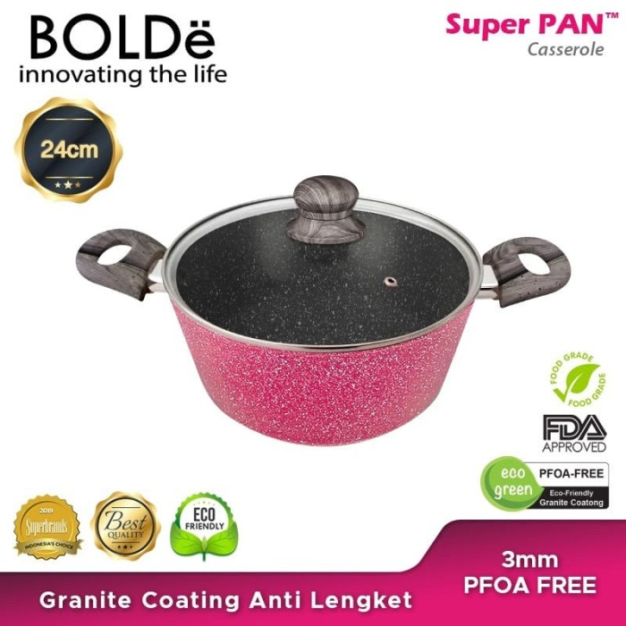 Foto Produk BOLDe Superpan Casserole Pot 24 cm Lid Glass Black Pink dari BOLDe Official Store