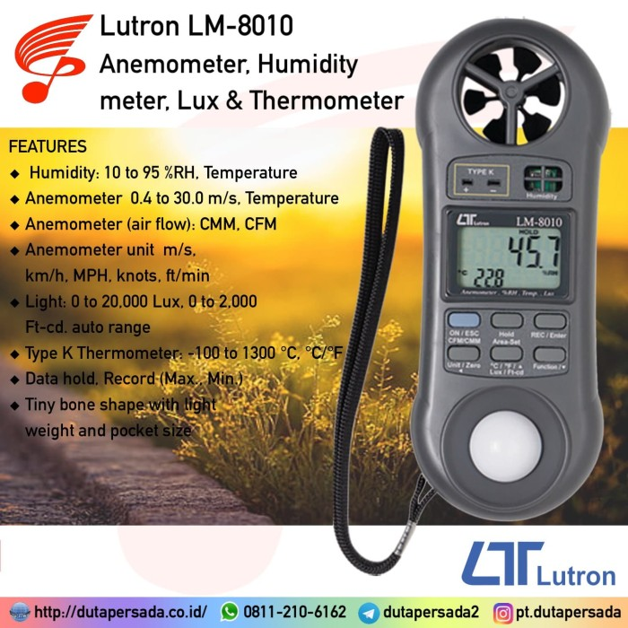 Foto Produk Lutron LM-8010 Anemometer, Humidity meter, Lux & Thermometer - NON GARANSI dari DUTA PERSADA Instruments