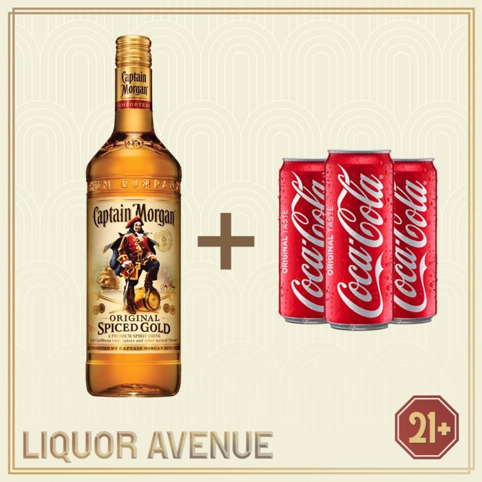 Foto Produk Captain Morgan Spiced Rum Gold 750 ML + 3 Can Coca-Cola (Coke) dari Liquor_Avenue