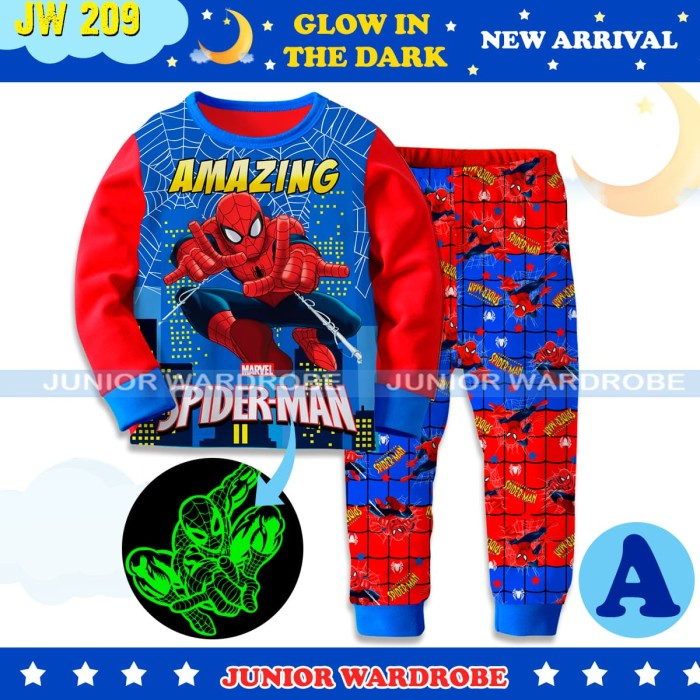 Foto Produk Baju Tidur Piyama Anak Laki JW 209 Glow In the Dark Spider Hero dari Tokonya Garin&Barra