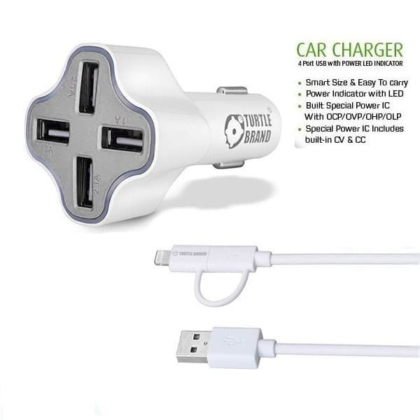 Foto Produk Turtle Brand 4 Port USB Car Charger 6.2A With Lightning Cable - Putih dari Inti Sukses