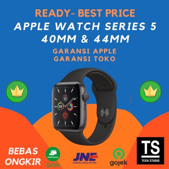 Foto Produk Apple Watch Series 5 40mm 44mm 40 44 mm Grey with Black Sport Band - GRS APPLE INTER, 40MM dari Tech Studio Indonesia