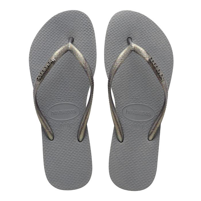 Foto Produk Havaianas Slim Logo Metallic 7864-Steel Grey - Sandal Wanita - Abu-abu, 33-34 dari Havaianas Official Shop
